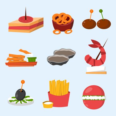 宴会大皿カナッペに様々 な肉魚チーズ パーティ軽食スナック前菜美味しいベクトルです。