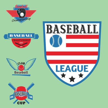 Tournament competition graphic champion professional blue red color baseball badge sport vector badge.
