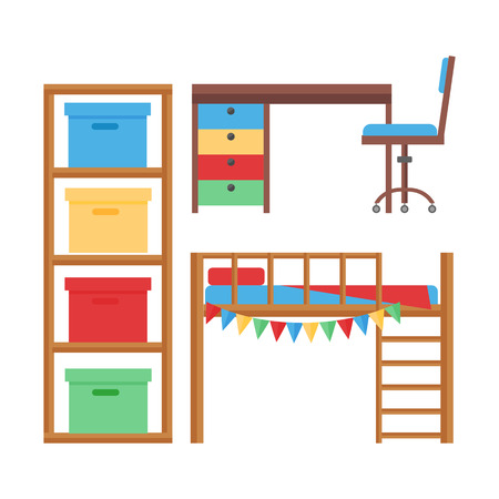 Comfortabele gezellige baby kamer decor kinderen slaapkamer interieur met meubels en speelgoed vector.