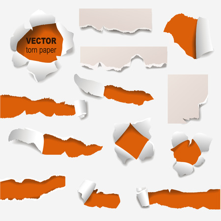 Collection of torn edges of a hole paper vector illustration. Иллюстрация