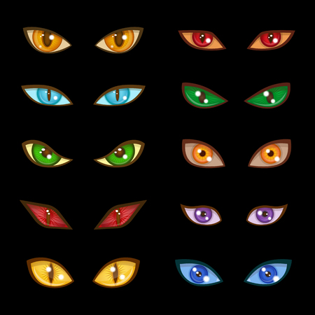 Danger animaux monstre mal lueur yeux expressions sur illustration vectorielle fond noir foncé Vecteurs