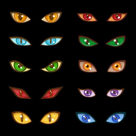 Danger animal monster evil glow eyes expressions on dark black background vector illustration Illustration