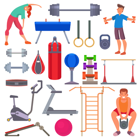Sport gym equipment flat style icons and characters healthy lifestyle club machine training exercise vector illustration. Fit workout muscular physical bodybuilding activity people Illustration