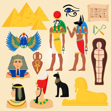 Gypten Symbole und Wahrzeichen alte Pyramiden Wüste Ägypter Menschen Gott Cleopatra Pharao Vektor-Illustration Standard-Bild - 77913765
