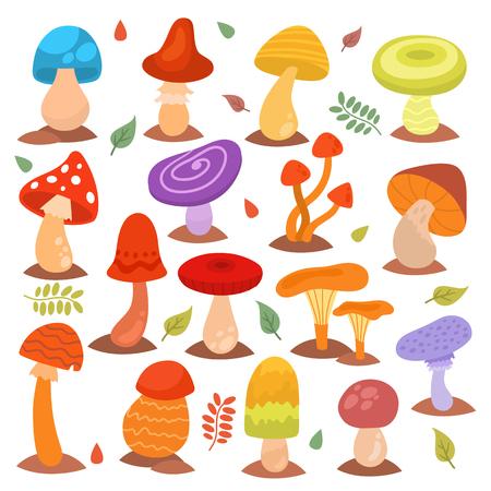 Différents champignons dessin animés isolés sur blanc nature nourriture design collection champignons plante illustration vectorielle