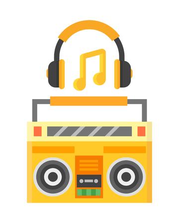 Retro blaster cassette tape recorder stereo record equipment audio music sound player vector illustration.