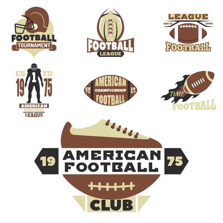 American football championship badge template for sport team with ball logo competition vector. Vettoriali