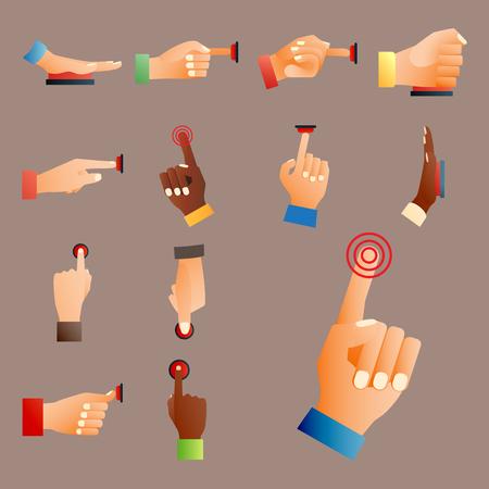 ハンドプレス赤いボタン指プレス コントロール プッシュ ポインター ジェスチャー人体部分ベクトル イラスト。  イラスト・ベクター素材