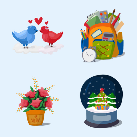 Happy holidays different icons vector holidays symbols decoration traditional celebration gift badge.