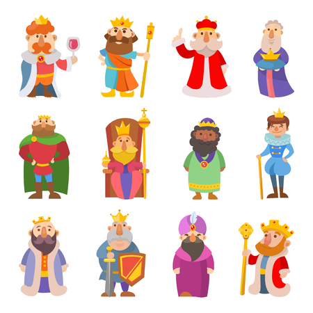 scepter: Different cute cartoon kings characters vector set collection man isolated on white