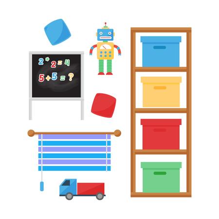 Comfortabele gezellige babykamer decor kinderen slaapkamer interieur met meubels en speelgoed vector. Stockfoto - 77958380