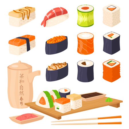 gourmet meal: Sushi japanese cuisine traditional food flat healthy gourmet icons asia meal culture roll vector illustration.