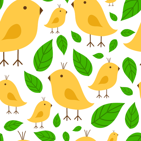 Seamless pattern vibrant branch with canary yellow bird vector illustration on white background Çizim