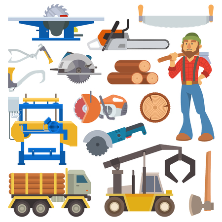 logging: Sawmill woodcutter character logging equipment lumber machine industrial wood timber forest vector illustration.