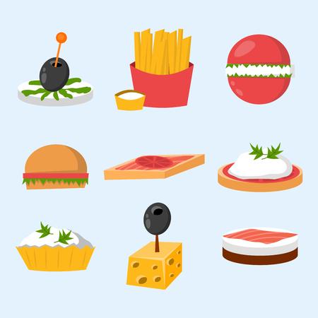 Divers viande poisson-fromage banquet snacks sur plate-forme de banquets canapé snacks apéritif délicieux vecteur.