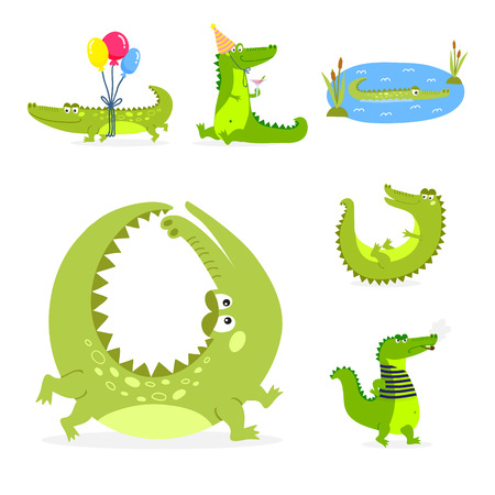 Cartoon green crocodile funny predator and australian wildlife river reptile carnivore alligator scales teeth flat vector illustration.