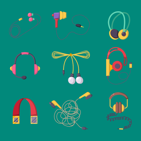Headphones vector set music technology accessory studio sound design collection dj speaker.