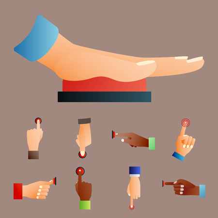 hit tech: Hand press red button finger press control push pointer gesture human body part vector illustration.