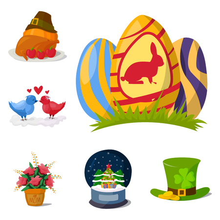 irish easter: Happy holidays different icons vector holidays symbols decoration traditional celebration gift badge.