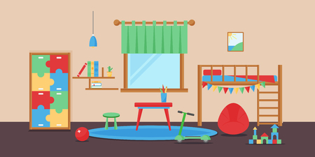 Comfortabele gezellige babykamer decor kinderen slaapkamer interieur met meubels en speelgoed vector.
