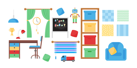 Comfortabele gezellige baby kamer decor kinderen slaapkamer interieur met meubels en speelgoed vector. Stockfoto - 78063951