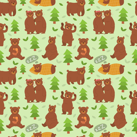 pareja comiendo: Cartoon bear character different pose vector seamless pattern Vectores