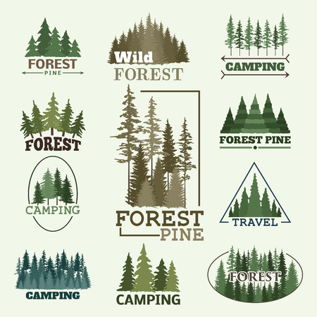Tree outdoor travel green silhouette forest badge coniferous natural logo badge tops pine spruce vector. Ilustrace