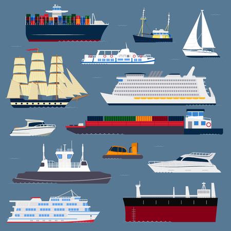 Schiff Kreuzer Boot Meer Symbol Schiff Reise Industrie Vektor Segelboote Kreuzfahrt Set von Marine-Symbol