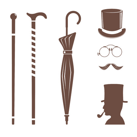 Vintage style design hipster gentleman vector illustration brown silhouette design mustache element. Illustration