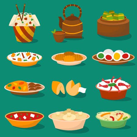 Chinese traditional food asian delicious cuisine dinner meal and china lunch cooked vector illustration