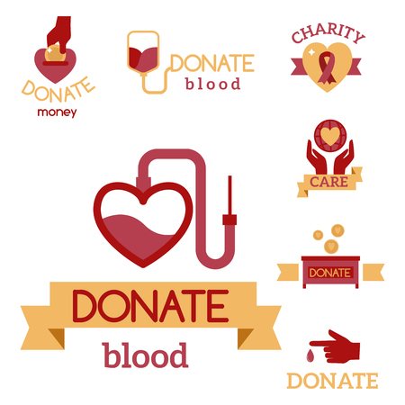 Volunteer red icons charity donation vector set humanitarian awareness hand hope aid support symbols. Illustration