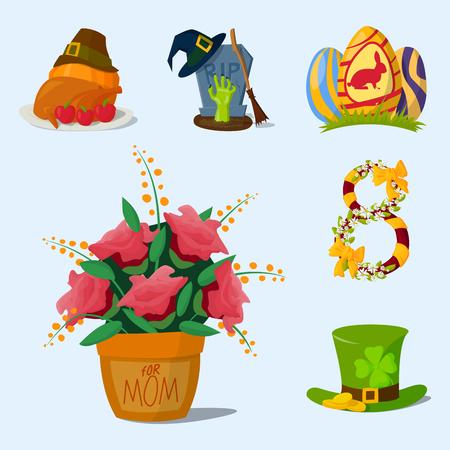 Happy holidays different icons vector holidays symbols decoration traditional celebration gift badge.