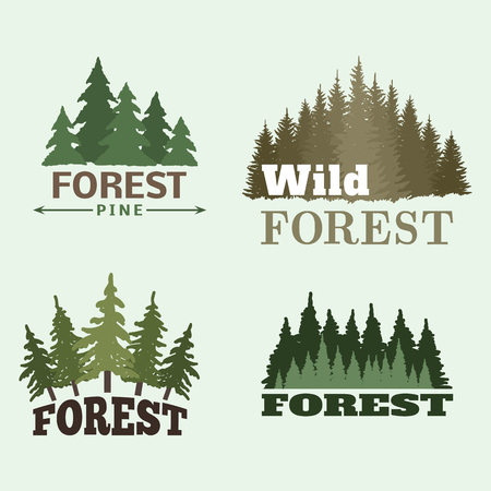 Tree outdoor travel green silhouette forest badge coniferous natural logo badge tops pine spruce vector. Illustration