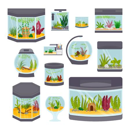 Transparent aquarium interior vector illustration isolated on white habitat house underwater fish tank bowl. Illustration