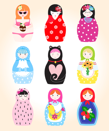 Traditional Russian doll Matryoshka toy nesting vector illustration with human puppet girl cute face
