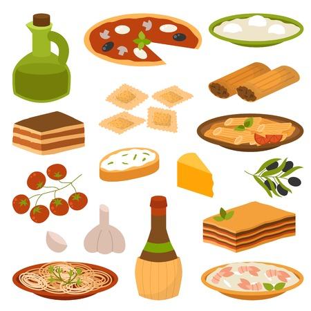 イタリア料理料理おいしい自家製料理新鮮な伝統的なイタリアン ランチ ベクトル図を漫画します。