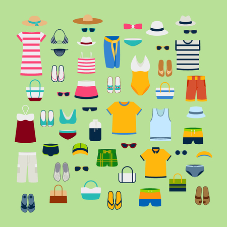 Set of summer clothes and accessories  illustration fashion clothing fashion image design