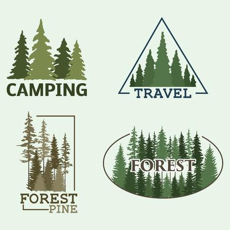 Drzewo na zewnątrz podróży zielona sylwetka las odznaka iglaste naturalne logo znaczek wierzchołki świerk sosnowy wektor.