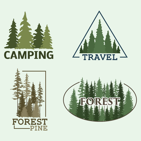 Tree outdoor travel green silhouette forest badge coniferous natural logo badge tops pine spruce vector. 向量圖像