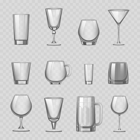 Transparante lege glazen en glaswerk drinkt tumbler mok cups reservoir vaartuig realistische vectorillustratie