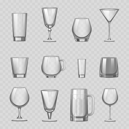 Transparent empty glasses and stemware drinks tumbler mug cups reservoir vessel realistic vector illustration Çizim