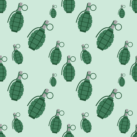 Hand grenade bomb explosion weapons seamless pattern vector illustration Stock Vector - 78605334