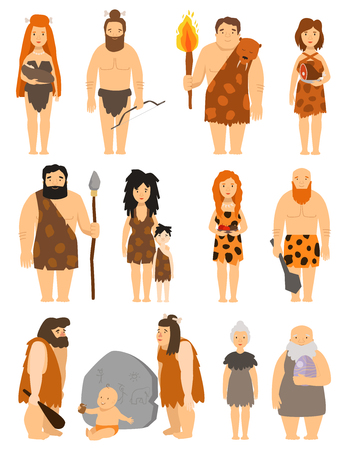 Cartoon primitive people character set vector protoman neanderthal caveman primeval family evolution illustration