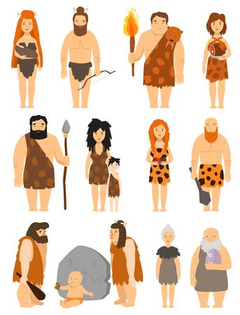 Personaje de dibujos animados personas primitivas conjunto vector protoman neanderthal hombre de las cavernas ilustración de la evolución familiar primigenia Ilustración de vector