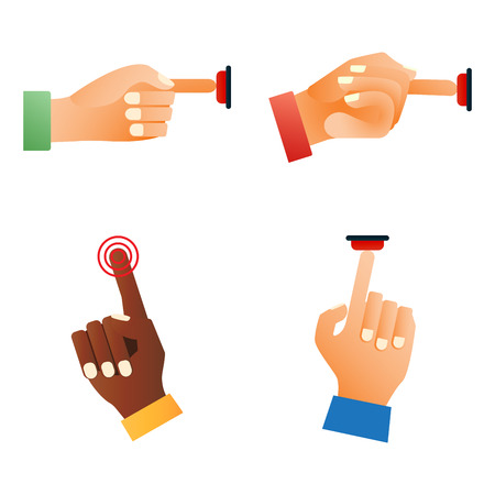 controlling: Hand press red button finger press control push pointer gesture human body part vector illustration.