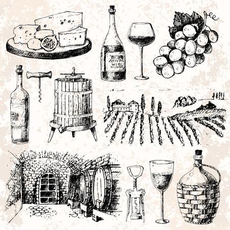 ビンテージ ワイナリー ワイン生産手作りドラフト ワイン スケッチ発酵ぶどうドリンク ベクトル図