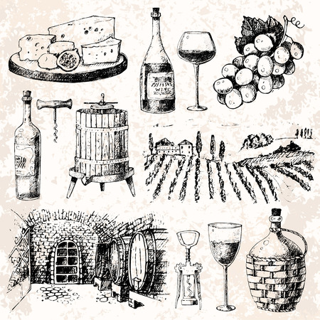Vintage wijnmakerij wijnproductie handgemaakt ontwerp wijnbouw schets fermentatie druiven drank vector illustratie Stock Illustratie