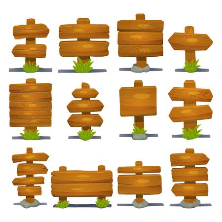 Middeleeuws houten uithangbord die de geïsoleerde houten houten tablet hangen die op weg wijzen vectorillustratie Stock Illustratie