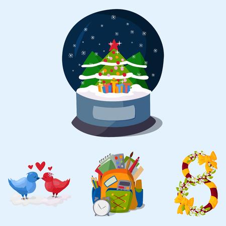 Happy holidays different icons holidays symbols decoration traditional celebration gift badge. Illustration