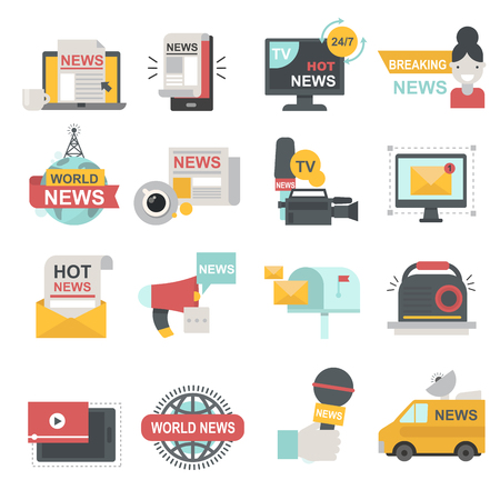 Mass media icons set with telecommunications radio beaking news broadcast TV or website symbols flat isolated illustration Ilustração